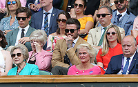 David Beckham watches from the Royal Box<br /> <br /> Photographer Rob Newell/CameraSport<br /> <br /> Wimbledon Lawn Tennis Championships - Day 10 - Thursday 11th July 2019 -  All England Lawn Tennis and Croquet Club - Wimbledon - London - England<br /> <br /> World Copyright © 2019 CameraSport. All rights reserved. 43 Linden Ave. Countesthorpe. Leicester. England. LE8 5PG - Tel: +44 (0) 116 277 4147 - admin@camerasport.com - www.camerasport.com