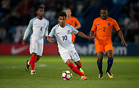 Marcus Edwards (Tottenham Hotspur) of England U20 moves from Sherel Florins (Sparta Rotterdam) of Netherlands during the International friendly match between England U20 and Netherlands U20 at New Bucks Head, Telford, England on 31 August 2017. Photo by Andy Rowland.