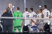 Real Madrid coach Zinedine Zidane talking during the celebration of the 12th UEFA Championship won by Real Madrid  at Santiago Bernabeu Stadium in Madrid, June 04, 2017. Spain.<br /> Foto ALTERPHOTOS/BorjaB.Hojas/Insidefoto
