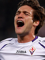 Calcio, Europa League: Ritorno degli ottavi di finale Roma vs Fiorentina. Roma, stadio Olimpico, 19 marzo 2015.<br /> Fiorentina's Marcos Alonso celebrates after scoring during the Europa League round of 16 second leg football match between Roma and Fiorentina at Rome's Olympic stadium, 19 March 2015.<br /> UPDATE IMAGES PRESS/Isabella Bonotto