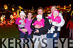 Pictured at the official turning on of Tony Noonan's charity christmas lights by Santa on Friday night in Templeglantine was L-R: Kayla Mullally, Anna Brosnahan, Abbie and Denis Kelliher, Josie Brosnahan and Leah Kelliher.