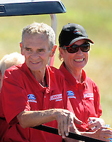 Sept. 5, 2010; Clermont, IN, USA; NHRA pro stock driver Bob Glidden (left) with wife Etta Glidden during qualifying for the U.S. Nationals at O'Reilly Raceway Park at Indianapolis. Mandatory Credit: Mark J. Rebilas-