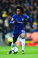 Chelsea's Willian in action<br /> <br /> Photographer Richard Martin-Roberts/CameraSport<br /> <br /> The Premier League - Liverpool v Chelsea - Sunday 14th April 2019 - Anfield - Liverpool<br /> <br /> World Copyright © 2019 CameraSport. All rights reserved. 43 Linden Ave. Countesthorpe. Leicester. England. LE8 5PG - Tel: +44 (0) 116 277 4147 - admin@camerasport.com - www.camerasport.com