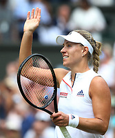 Angelique Kerber (GER) celebrates after her victory against Daria Kasatkina (RUS) in their Ladies' Quarter Final match<br /> <br /> Photographer Rob Newell/CameraSport<br /> <br /> Wimbledon Lawn Tennis Championships - Day 8 - Tuesday 10th July 2018 -  All England Lawn Tennis and Croquet Club - Wimbledon - London - England<br /> <br /> World Copyright &not;&copy; 2017 CameraSport. All rights reserved. 43 Linden Ave. Countesthorpe. Leicester. England. LE8 5PG - Tel: +44 (0) 116 277 4147 - admin@camerasport.com - www.camerasport.com