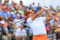Rickie Fowler (USA) tees off the 1st tee to start his match during Sunday's Final Round of the 117th U.S. Open Championship 2017 held at Erin Hills, Erin, Wisconsin, USA. 18th June 2017.<br /> Picture: Eoin Clarke | Golffile<br /> <br /> <br /> All photos usage must carry mandatory copyright credit (&copy; Golffile | Eoin Clarke)