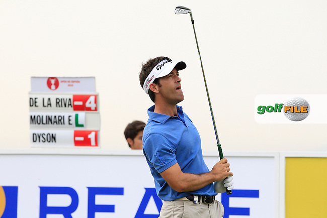 Eduardo De La Riva (ESP) on the 13th tee during Round 1 of the Open de Espana  in Club de Golf el Prat, Barcelona on Thursday 14th May 2015.<br /> Picture:  Thos Caffrey / www.golffile.ie