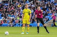 Referee Mr Tom Nield warns the wall not to move shied of a free kick during the Sky Bet League 1 match between Peterborough and Oxford United at the ABAX Stadium, London Road, Peterborough, England on 30 September 2017. Photo by David Horn.