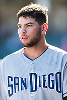 Peoria Javelinas third baseman Hudson Potts (13), of the San Diego Padres organization, in the dugout after hitting a home run during an Arizona Fall League game against the Surprise Saguaros at Surprise Stadium on October 17, 2018 in Surprise, Arizona. (Zachary Lucy/Four Seam Images)