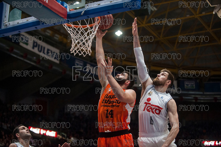 VALENCIA, SPAIN - FEBRUARY 28: Andres Nocioni, Bojan Dubljevic during ENDESA LEAGUE match between Valencia Basket Club and Real Madrid at Fonteta Stadium on   February, 2016 in Valencia, Spain
