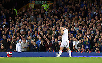 Liverpool, UK. Saturday 01 November 2014<br /> Pictured: Jonjo Shelvey of Swansea disappointed walks off the pitch after shown a red card by match referee Kevin Friend<br /> Re: Premier League Everton v Swansea City FC at Goodison Park, Liverpool, Merseyside, UK.