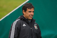 Wales manager Chris Coleman arrives for the Wales open Training session ahead of the opening FIFA World Cup 2018 Qualification match against Moldova at The Vale Resort, Cardiff, Wales on 31 August 2016. Photo by Mark  Hawkins / PRiME Media Images.