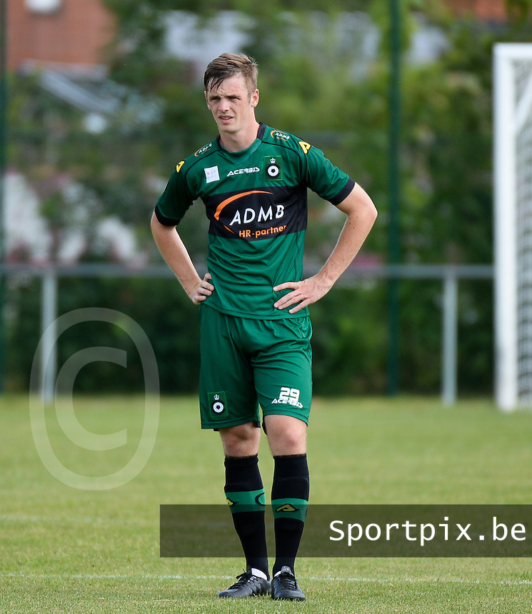 20150705 - SIJSELE , BELGIUM : Cercle's Jasper Ameye pictured during a friendly match between Belgian second division team Cercle Brugge and Belgian fourth division soccer team SVV Damme , during the preparations for the 2015-2016 season, Sunday 5 July 2015 in Sijsele . PHOTO DAVID CATRY