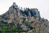 CYPRUS, North cyprus (turkish), near Keryneia (Girne): St. Hilarion castle at Keryneia mountains | ZYPERN, Nord-Zypern (tuerkisch), bei Keryneia (Girne): St. Hilarion - Burg Agios Hilarion im Keryneia-Gebirge