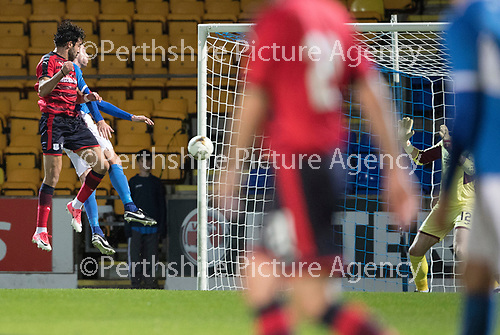 Dave Mackay Testimonial: St Johnstone v Dundee&hellip;06.10.17&hellip;  McDiarmid Park&hellip; <br />Sofien Moussa heads in Dundee&rsquo;s third goal<br />Picture by Graeme Hart. <br />Copyright Perthshire Picture Agency<br />Tel: 01738 623350  Mobile: 07990 594431