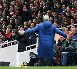 An Arsenal fan gestures to Arsene Wenger<br /> <br /> Barclays Premier League- Arsenal vs Leicester City  - Emirates Stadium - England - 10th February 2015 - Picture David Klein/Sportimage