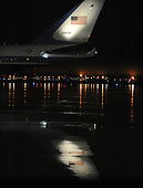 Air Force One, with United States President Barack Obama aboard, arrives at Joint Base Andrews in Camp Springs, Maryland, Thursday, January 12, 2012. The President was returning from Chicago where he delivered remarks at a campaign event..Credit: Olivier Douliery / Pool via CNP