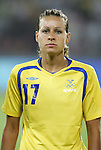 12 August 2008: Charlotte Rohlin (SWE).  The women's Olympic team of Sweden defeated the women's Olympic soccer team of Canada 2-1 at Beijing Workers' Stadium in Beijing, China in a Group E round-robin match in the Women's Olympic Football competition.