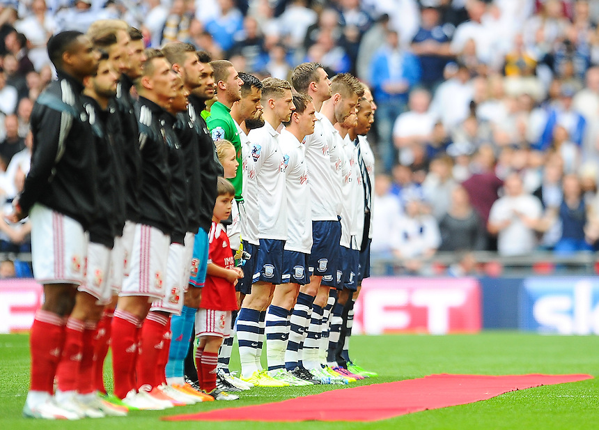 Preston North End and Swindon Town player line up before todays game<br /> <br /> Photographer Craig Thomas/CameraSport<br /> <br /> Football - The Football League Sky Bet League One Play-Off Final - Preston North End v Swindon Town - Sunday 24th May 2015 - Wembley Stradium - London<br /> <br /> &copy; CameraSport - 43 Linden Ave. Countesthorpe. Leicester. England. LE8 5PG - Tel: +44 (0) 116 277 4147 - admin@camerasport.com - www.camerasport.com