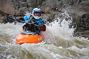 Kayaking the Swift River during the spring months in the White Mountains, New Hampshire USA