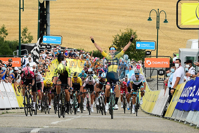 Wout Van Aert (BEL) Team Jumbo-Visma wins Stage 1 of Criterium du Dauphine 2020, running 2185km from Clermont-Ferrand to Saint-Christo-en-Jarez, France. 12th August 2020.<br /> Picture: ASO/Alex Broadway | Cyclefile<br /> All photos usage must carry mandatory copyright credit (© Cyclefile | ASO/Alex Broadway)