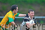 Ardferts John Egan goes past the Gneeveguilla defender during their County Championship relegation play off in Milltown Saturday evening