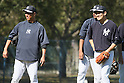 Hiroki Kuroda, Masahiro Tanaka (Yankees),<br /> FEBRUARY 17, 2014 - MLB : Hiroki Kuroda (L) and Masahiro Tanaka of the New York Yankees during the teams spring training baseball camp at George M. Steinbrenner Field in Tampa, Florida. United States.<br /> (Photo by Thomas Anderson/AFLO) (JAPANESE NEWSPAPER OUT)