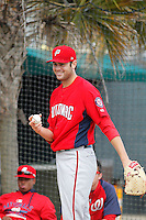 Potomac Nationals pitcher Lucas Giolito (23) warms-up in the bullpen before a game against the Myrtle Beach Pelicans at Ticketreturn.com Field at Pelicans Ballpark on May 25, 2015 in Myrtle Beach, South Carolina.  Myrtle Beach defeated Potomac 3-0. (Robert Gurganus/Four Seam Images)