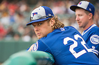 Kyle Jensen (22) of the Oklahoma City Dodgers during the game against the Salt Lake Bees in Pacific Coast League action at Smith's Ballpark on May 25, 2015 in Salt Lake City, Utah.  (Stephen Smith/Four Seam Images)