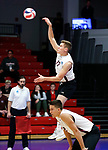 KENOSHA, WI - APRIL 28:  Springfield College's Tucker Evans serves up the ball at the Stevens Institute defense at the Division III Men's Volleyball Championship held at the Tarble Athletic and Recreation Center on April 28, 2018 in Kenosha, Wisconsin. (Photo by Steve Woltmann/NCAA Photos via Getty Images)