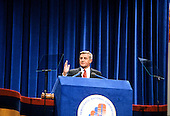 United States Vice President President Walter Mondale delivers his speech accepting his party's nomination for reelection as Vice President President of the United States at the 1980 Democratic National Convention in Madison Square Garden in New York, New York on August 13, 1980.<br /> Credit: Howard L.  Sachs / CNP