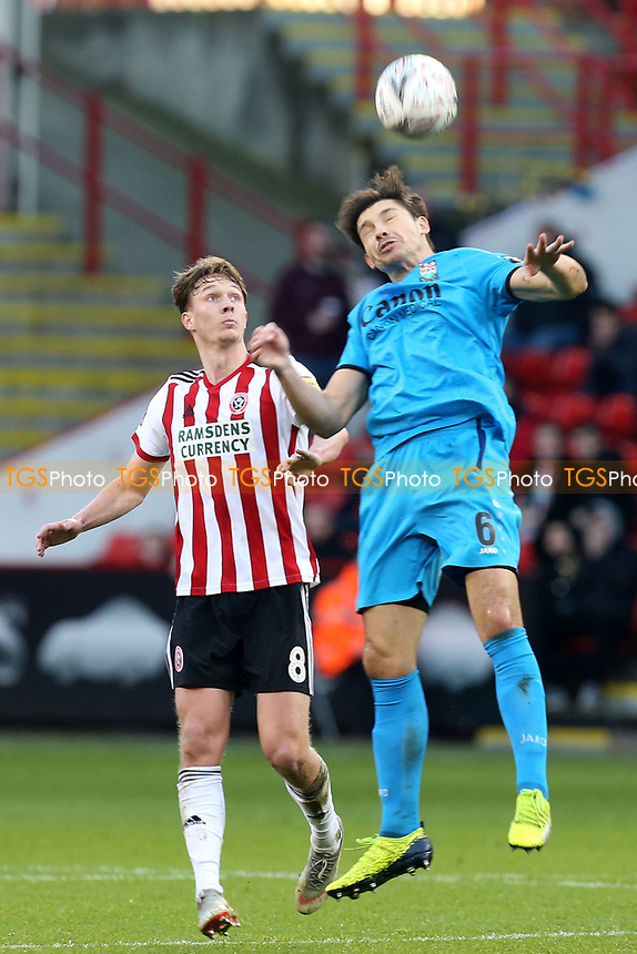 Kieran Dowell of Sheffield United and Craig Robson of Barnet during Sheffield United vs Barnet, Emirates FA Cup Football at Bramall Lane on 6th January 2019