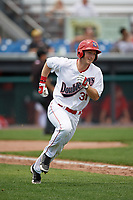 Auburn Doubledays designated hitter Jonathan Pryor (31) runs to first base during the first game of a doubleheader against the Mahoning Valley Scrappers on July 2, 2017 at Falcon Park in Auburn, New York.  Mahoning Valley defeated Auburn 3-0.  (Mike Janes/Four Seam Images)