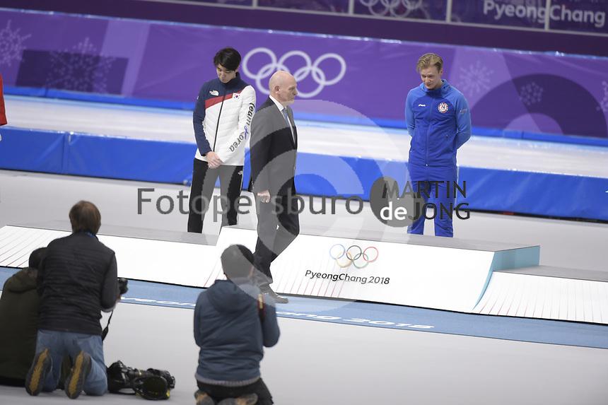 OLYMPIC GAMES: PYEONGCHANG: 19-02-2018, Gangneung Oval, Long Track, Final results 500m Men, Cha Min Kyu (KOR), Havard Lorentzen (NOR), ©photo Martin de Jong