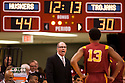 December 3, 2012: Kevin O'Neill head coach of the USC Trojans giving instructions to Chass Bryan (13) in the game against the Nebraska Cornhuskers at the Devaney Sports Center in Lincoln, Nebraska. Nebraska defeated USC 63 to 51.