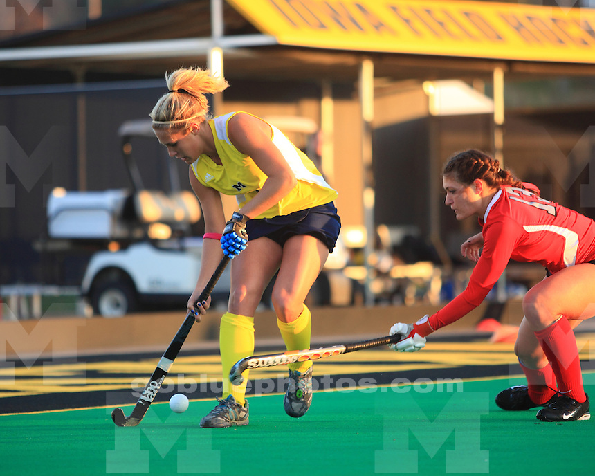 The University of Michigan field hockey team defeated The Ohio State University, 1-0, in the first round of the 2012 Big Ten Tournament at Grant Field in Iowa City, Iowa, on November 1, 2012.