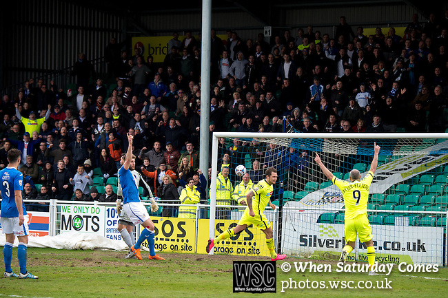 Eastleigh 0 Tranmere Rovers 1, 23/04/2016. Silverlake Stadium (Ten Acres), National League. James Norwood scores the winning goal for Tranmere. The club was formed on 22 May 1946 by Derik Brooks and a group of friends in the Fleming Arms public house in Southampton and originally known as Swaythling Athletic. Eastleigh have risen through the leagues and are now firmly established in the Vanarama National League. Photo by Simon Gill.