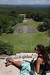 BELIZE - SEPTEMBER 13, 2007:  Danielle Mokritski, of Burlighton, VT, at the Xunantunich Mayan ruins on September 13, 2007 in Belize.  (PHOTOGRAPH BY MICHAEL NAGLE)