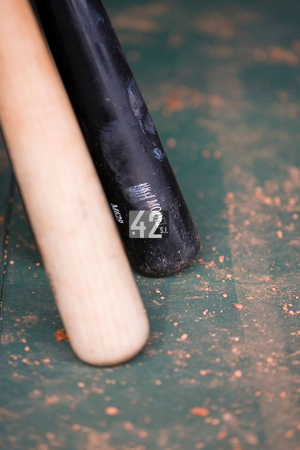19 August 2007: Baseball bats lie in the dugout during the Japan 4-3 victory over France in the Good Luck Beijing International baseball tournament (olympic test event) at the Wukesong Baseball Field in Beijing, China.