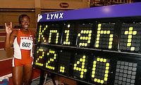Univ. of Texas Freshman Bianca Knight set a Collegite Record in the 200m dash with a time of 22.40sec. at the 2008 NCAA Div. 1 Indoor Track and Field Championship on Friday, March 14, 2008 held at the Randal Tyson Track Center on the campus of the Univ. of Arkansas,AR. Photo by Errol Anderson,The Sporting Image