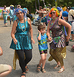 View of people who participated in the dance-strutting procession that followed the Third Annual Mermaid Parade in Rosendale, NY, on Sunday, August 6, 2017. Photo by Jim Peppler. Copyright/Jim Peppler-2017.