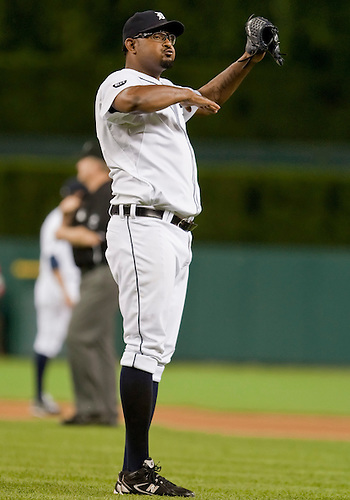June 15, 2010: Detroit Tigers relief pitcher Jose Valverde (#46) celebrates the last out of game action between the Washington Nationals and the Detroit Tigers at Comerica Park in Detroit, Michigan.  The Tigers defeated the Nationals 7-4..