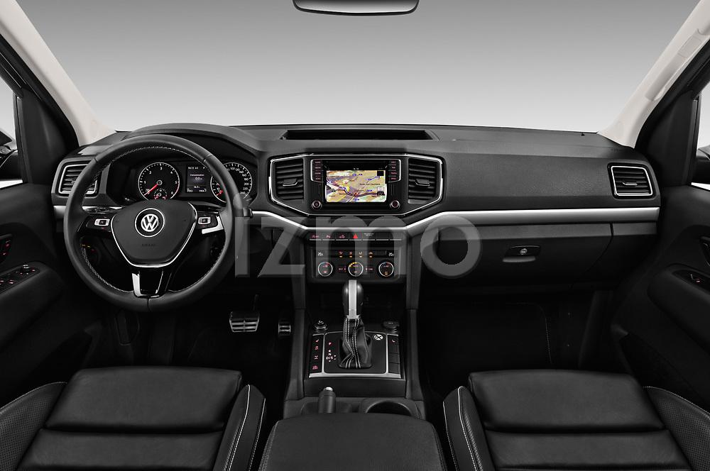 Stock photo of straight dashboard view of 2017 Volkswagen Amarok Aventura 4 Door Pick Up