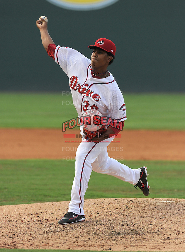 Pitcher Nefi Ogando (39) of the Greenville Drive in a game against the Rome Braves on July 6, 2012, at Fluor Field at the West End in Greenville, South Carolina. Greenville won, 4-0. (Tom Priddy/Four Seam Images)