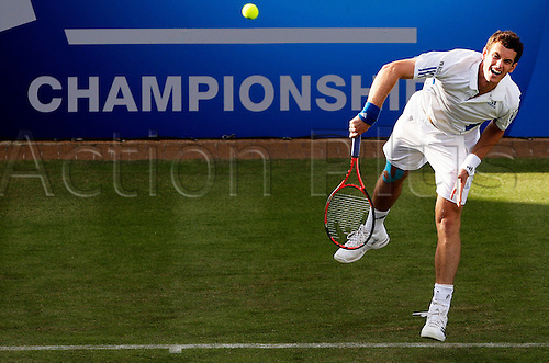 British player Andy Murray serves against Spaniard Ivan Navarro during their second round game in the Aegon Championships in the Queen's Club, London, 8 June 2010. The Aegon Championships is a tennis tournament part of the ATP World Tour that takes place in west London from the 7th to the 13th of June 2010.