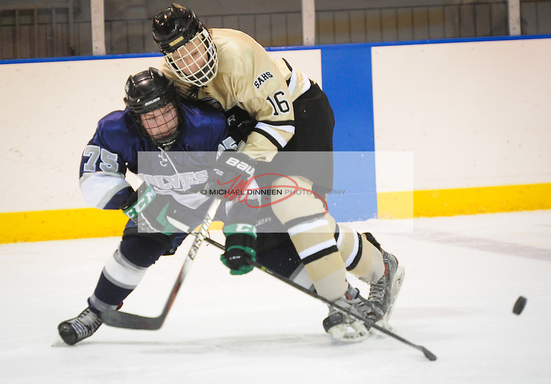 Eagle River's Ben Rinckey, left and South's Patrick Rush battle for the puck during the Wolves' 4-2 win over South Anchorage at Ben Boeke Arena Thursday, February 2nd, 2017.  Photo for the Star by Michael Dinneen