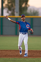 AZL Cubs 2 shortstop Luis Verdugo (18) makes a throw to first base during an Arizona League game against the AZL Reds at Sloan Park on June 18, 2018 in Mesa, Arizona. AZL Cubs 2 defeated the AZL Reds 4-3. (Zachary Lucy/Four Seam Images)
