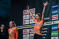 Annemiek van Vleuten (NED/Mitchelton-Scott) retains the rainbow jersey as she once again wins the race<br /> <br /> WOMEN ELITE INDIVIDUAL TIME TRIAL<br /> Hall-Wattens to Innsbruck: 27.8 km<br /> <br /> UCI 2018 Road World Championships<br /> Innsbruck - Tirol / Austria