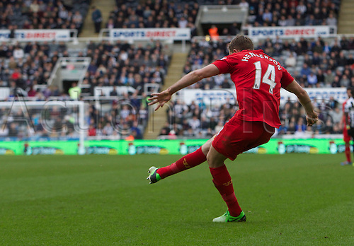 27.04.2013 Newcastle England.  Liverpools Jordan Henderson scoring to make it 6-0 during the English Premier league game between Newcastle United and Liverpool,  From The Sports Direct Arena, St James Park, Stadium, Newcastle.