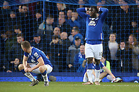 Tom Cleverley  and  Romelu Lukaku look dejected at the final whistle in the Barclays Premier League match between Everton and Swansea City played at Goodison Park, Liverpool
