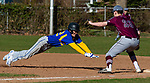 SEYMOUR,  CT-041019JS13- Seymour's Devin Mastrio (22) gets caught too far off first base and was picked off on a tag by Naugatuck's Zack Royka (23) during their game Wednesday at French Memorial Park in Seymour. <br /> Jim Shannon Republican American